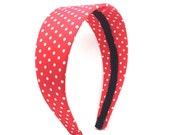 Red and White Polka Dot Headband - Big Girl Headband, Adult Headband - Choose wide, average, narrow or skinny