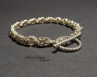 Bracelet, Chainmaille, Chainmail, Segmented Byzantine Weave, Argentium Silver