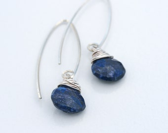 Deep Blue Sapphire Sterling Wrap Earrings