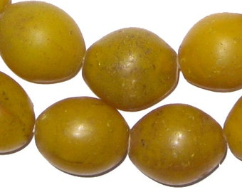 28 Old Ethiopian Glass Beads - Yellow Tomato Beads 24 x 20mm - African Trade Beads - Jewelry Supplies - Made in Ethiopia (TOMATO-YLW-208)