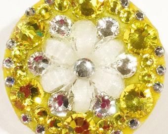 Flower Yellow & White Swarovski Crystal Embellished Retractable ID Badge Reel