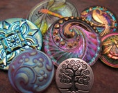7 Shimmering Czech Glass Buttons and Metal button Sampler Mix