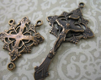 Rosary Supplies Set Crucifix and Center Connector Lotus Flower Vintage Inspired Supplies B14LS
