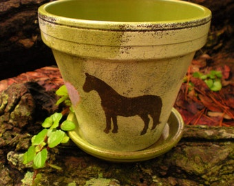 Flower Pot with Horse - Horse Lover Gift - Painted Flower Pot
