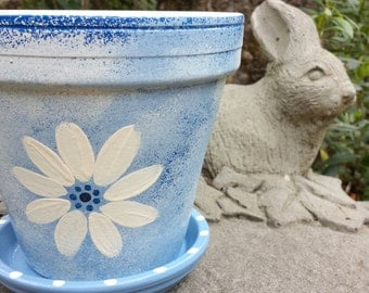 Painted Flower Pot - Blue and White - Large Planter