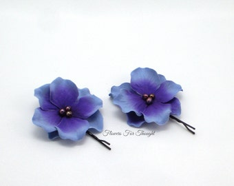 Purple Flower Hairpins with Freshwater Pearls, Wedding Hair accessory, Set of 2 Hydrangea blossom pins