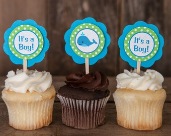 Whale Baby Shower - Whale Theme Cupcake Toppers in Aqua Blue & Green - Whale Baby Shower Decorations (12)