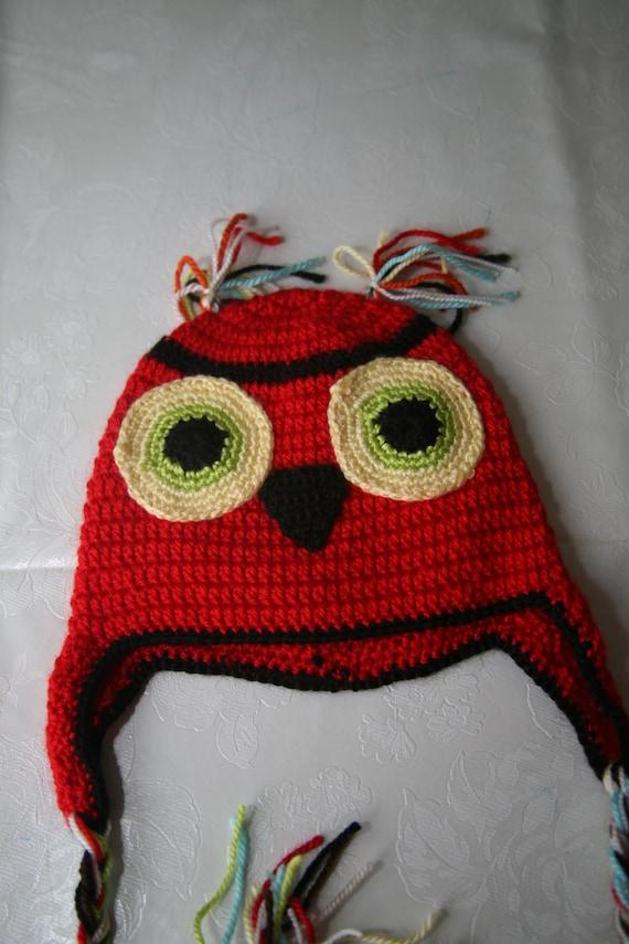 newborn baby red owl hat crochet handmade gift idea for shower birthday boy girl animal bird character
