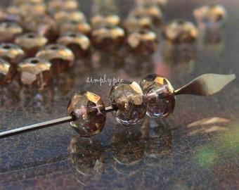 Bronze Crystal Lumi Donut Czech Glass Beads 3x5mm 25 Faceted Rondelle Gemstone-Cut