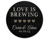 Personalized Wedding Stickers - Love is Brewing - Chalkboard Stickers - Favor Stickers - Casual Wedding - Hearts Stickers - Coffee Labels
