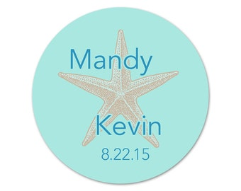 Custom Beach Wedding Stickers - Personalized Wedding Favor Labels - Starfish Labels- Favor Stickers - Choose your Colors