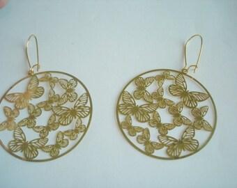 Butterfly Filigree Earrings Gold Tone Dangles