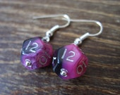 Miniature D12 pink black dice earrings mini dice earring dice jewelry pathfinder dungeons and dragons mini die jewellery polyhedral dice