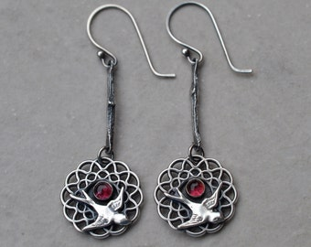 Sterling Silver and Pink Tourmaline Birds of a Feather Earrings