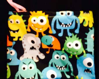 Perfect little monster hand-sewn pouch to hold all the kids little treasures.
