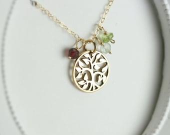 Family Tree Necklace - Gold Family Tree Birthstone Necklace - Personalized Necklace for Mom - Family Tree Necklace for Grandma Gift for Mom