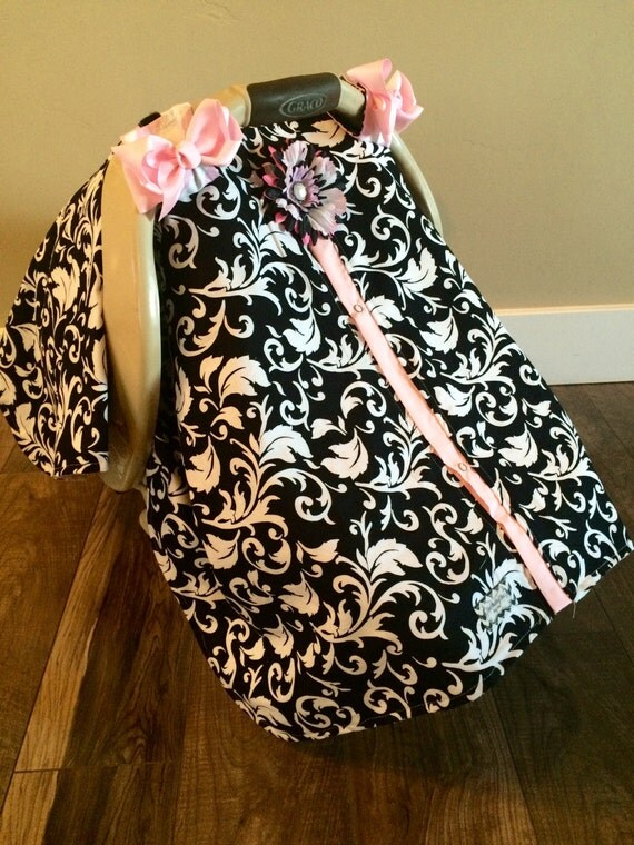 Carseat Canopy Black and Light Pink / Car seat cover / car seat canopy / carseat cover / carseat canopy / nursing cover