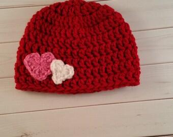 Crochet Heart Hat, Crochet Valentines Day Hat, Baby Girl Hat, Baby Boy Hat, Newborn Photo Prop, Baby Hats