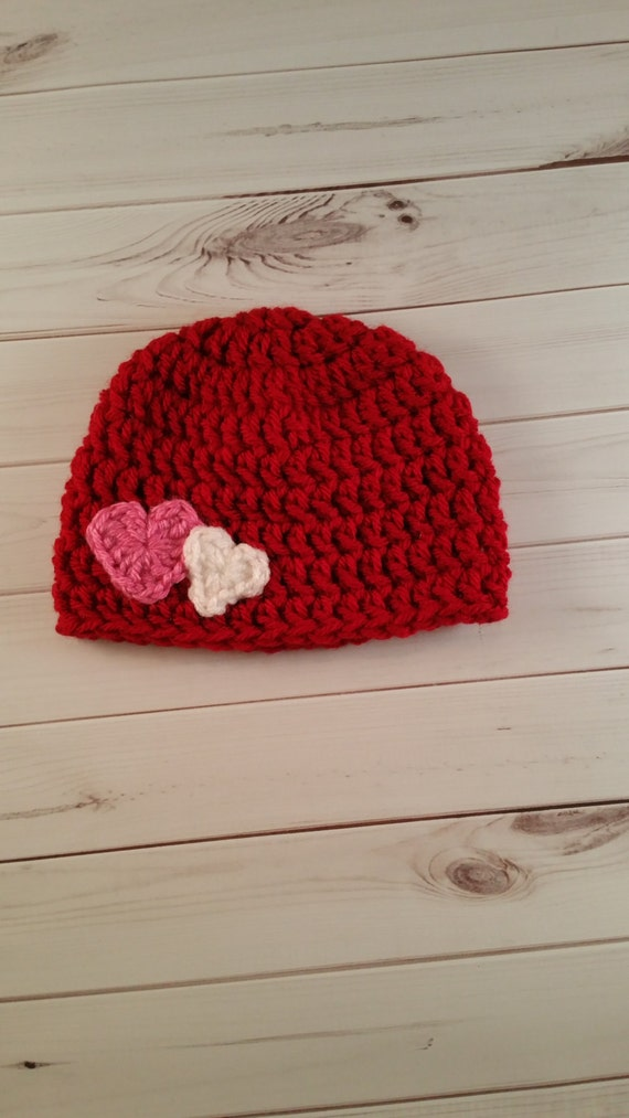 Crochet Valentine Hat : Crochet Heart Hat, Crochet Valentines Day Hat, Baby Girl Hat, Baby Boy ...