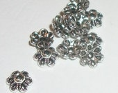 Bead caps antique silver plated pewter bead caps 6mm for jewelry making  100 pieces per lot (46396)