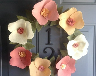 Handmade Felt Flower Door Wreath Decoration - Melon 14""