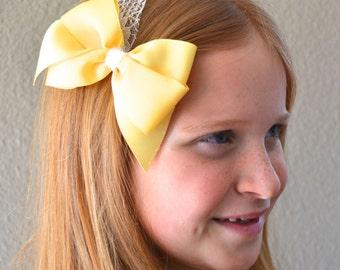 Hair bows, Yellow, hair bow, girls hair bows, toddler hair bows, baby hair bows, hair clips, girls hair clips, bows for girls, hair bow