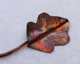 Oak Leaf Copper Shawl Pin, Sweater Pin, Hand Forged Jewelry, Botanical Jewelry, Nature Inspired Jewelry,Copper Jewelry, Fold Formed Pin