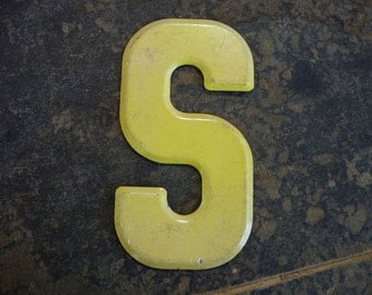 "5-1/2"" Tall, MARQUEE Letter S, Vintage Steel Metal Letter S, Old Signage"