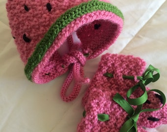Watermelon Hat and Booties