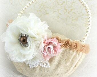 Flower Girl Basket, Chocolate, Brown, Pink, Ivory, Wedding, Shabby Chic, Linen, Lace, Crystals, Pearls, Pearl Handle, Elegant,Vintage Style