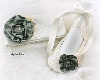 Clutch, Ballet Flats, Sage Green, Ivory, Green, Handbag, Purse, Shoes, Ballerina Slippers, Lace, Pearls, Crystals, Elegant Wedding