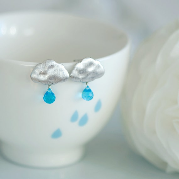 Summer rain earrings, Cloud earrings, Rain earrings, cloud stud earrings, Rain drop earrings