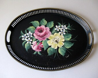 Vintage handpainted metal serving tray, Painted toleware metal serving tray