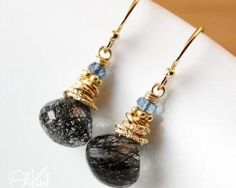 Black Rutile Quartz Earrings - Blue Quartz - 14K Gold Filled