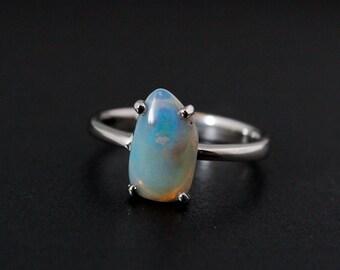 50% OFF SALE - Australian Opal Ring - Freeform Cut - White