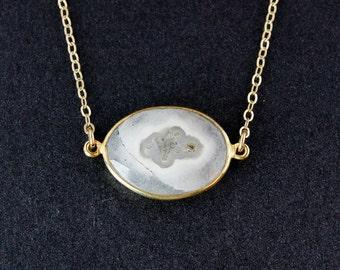 Solar Quartz Necklace - 14k Gold Fill Chain