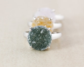 Silver Rustic Druzy Ring - Round Cut - Choose Your Druzy