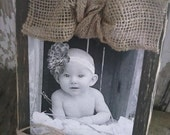 Rustic Chunky Wood Block Frame with Burlap Bow and Twine