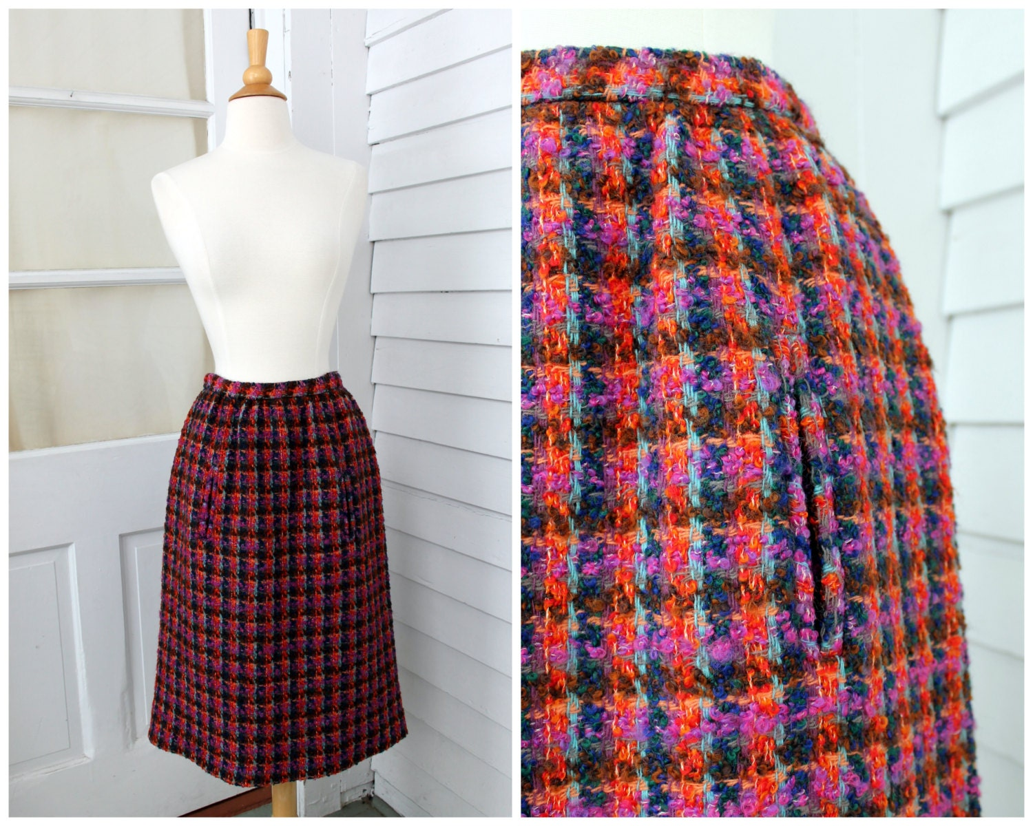 colorful wool skirt purple plaid pencil skirt by chimpvintage
