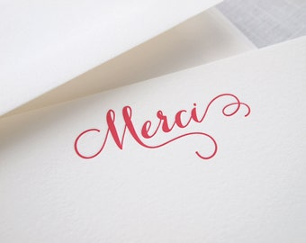 Curlicue Merci Letterpress Stationery - Set of 6 Flat Notes