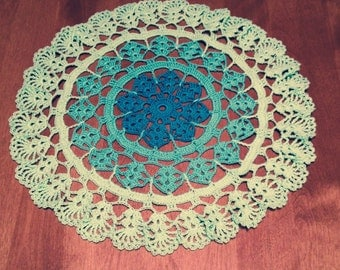 3 shades of Aqua Hand crocheted  Doily 13 inches diameter in Teal Aqua Mint Spring garden country victorian decor wedding summer