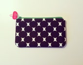 Zippered pouch Cell phone case with black dots print fabric
