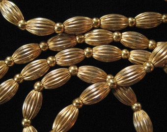 Textured Chain Beads, Gold Plated, 56 inches long