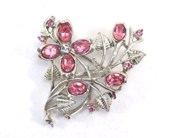 Signed Coro Pink Floral Rhinestone Brooch Vintage 1950s Springtime Broach