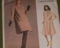 Vogue Designer Geoffrey Beene Flared Pullover Dress Pattern / UNCUT