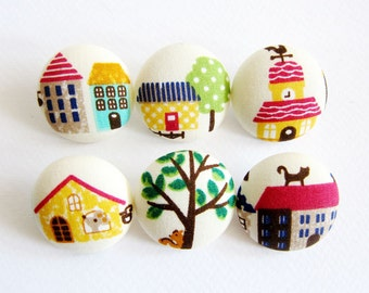 Sewing Buttons / Fabric Buttons - 6 Large Fabric Buttons Set - Animal Houses