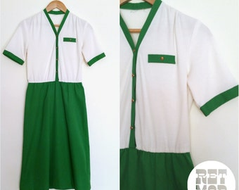 Vintage 70s Green and White Day Dress - Simple and Chic! Comfortable!