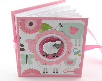 Baa Baa Sweet Sheep III Mini Photo Book, 2x3 wallets - pink, white, aqua