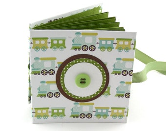 Train Time II Mini Photo Book, 2x3 wallets - green, aqua, gold
