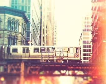 Chicago Train Photography, color photography, L train art print, El train, teal, red, retro, train wall art, Washington, Chicago skyline art